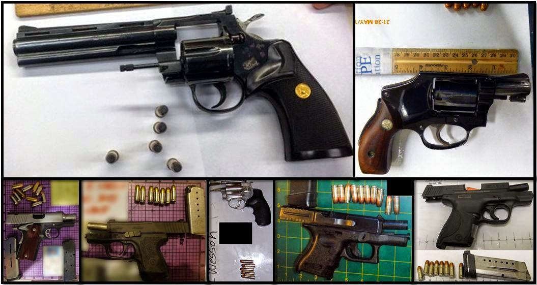 Clockwise from top left, firearms discovered in carry-on bags at GRR, DAL, MDW, LAS, RDU, SMF, and SMF.