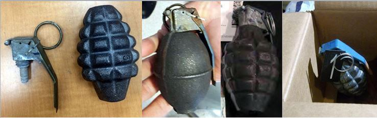 Discovered inert grenades