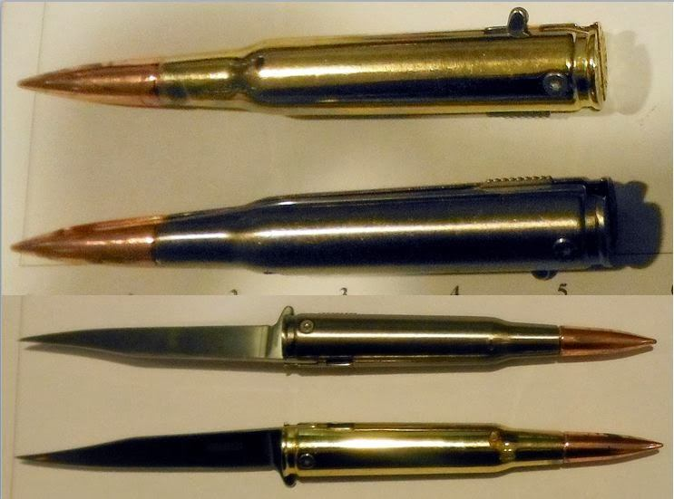 These bullet-shaped knives were discovered taped inside the lining of a bag at (IAH).