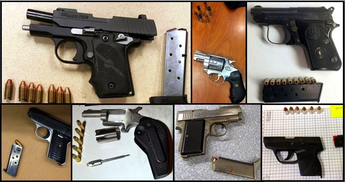 Clockwise from top left, these firearms were discovered in carry-on bags at CLT, ATL, BNA, GSP, ANC, TYS, and JFK.