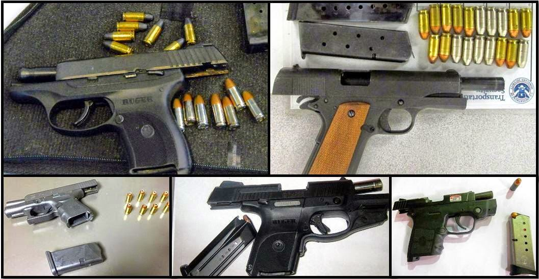 Clockwise from top left, these firearms were discovered in carry-on bags at PGV, RNO, PHX, IND, and AUS