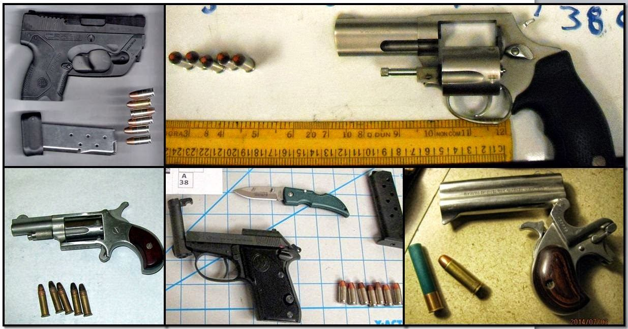 Firearms Discovered at (Left - Right / Top to Bottom) PHX, RDU, ATL, PHX & BOI