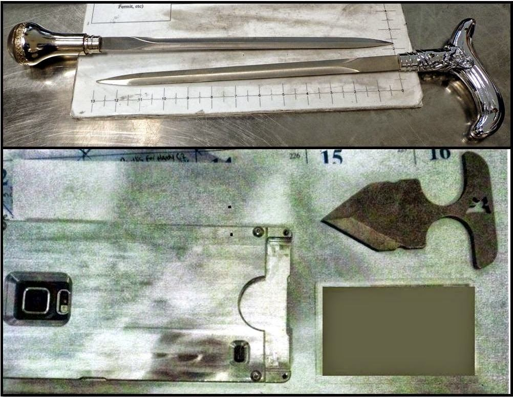 Sword Canes Discovered at Memphis (MEM) - Knife in Phone Case Discovered at Tampa (TPA)
