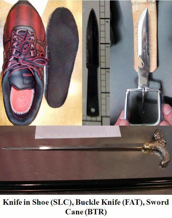 Loaded 45. caliber pistol discovered hidden under the lining of a carry-on bag at Charlotte (CLT). Two inch knife detected under sole of shoe at Salt Lake City (SLC). Belt buckle knife discovered at Fresno (FAT). A cane sword discovered at Baton Rouge (BTR).