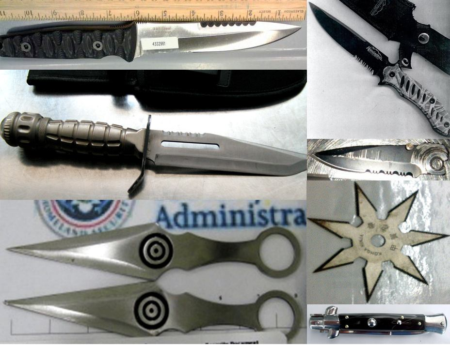 Knives - Discovered at (L-R) BWI, DEN, EWR, EWR, ONT, LAX, STL