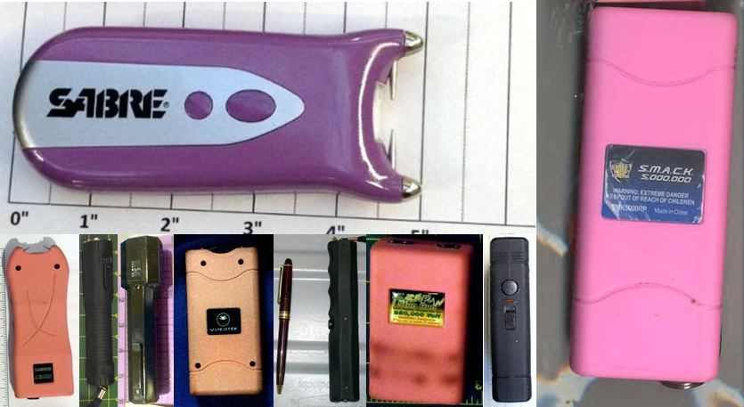 Stun Guns - Discovered at (L-R) IAD, DTW, LAS, SMF, SFO, BWI, LAS, SJU, ABQ