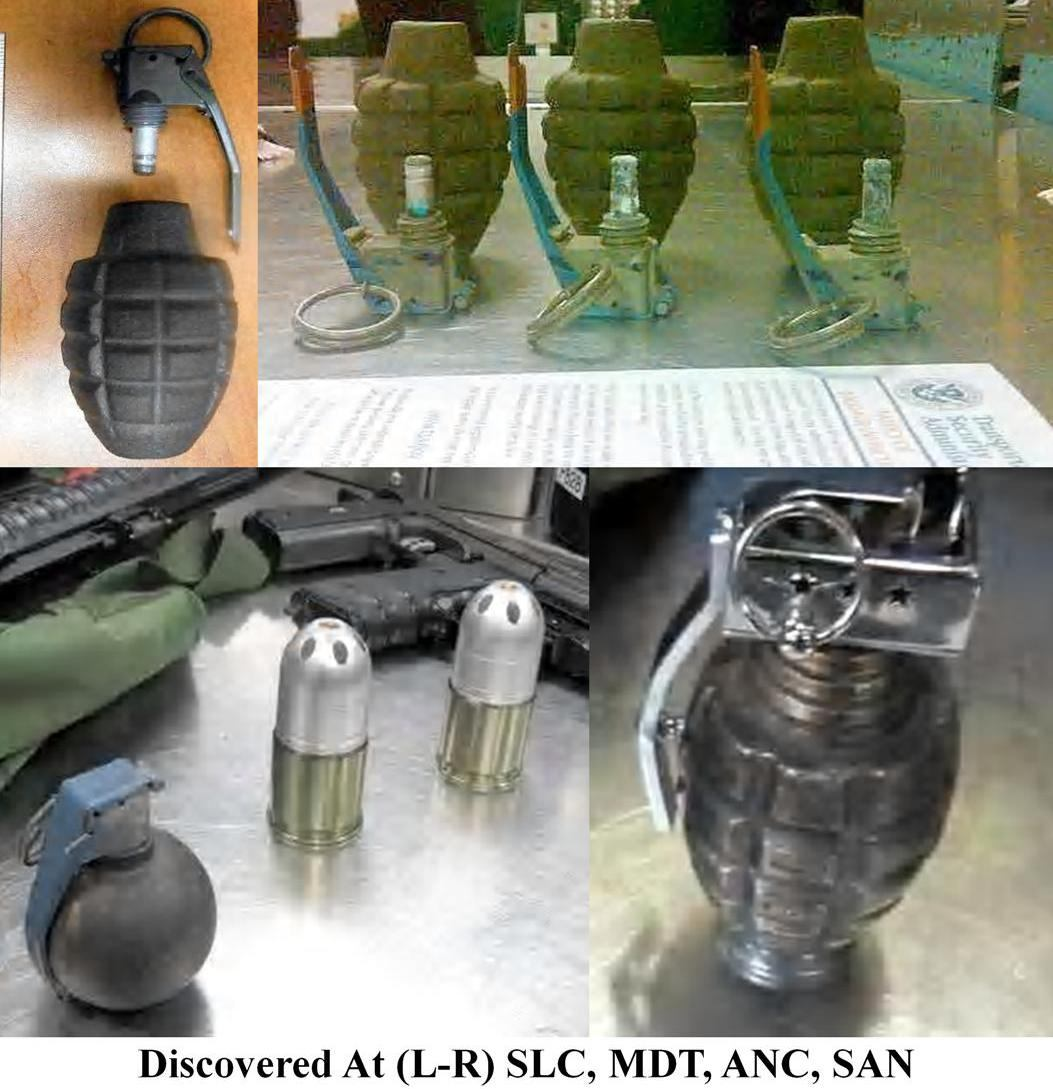 Eight replica/inert grenades were discovered this week, one in a carry-on bag at Salt Lake City (SLC), and five others in checked baggage - three at Harrisburg (MDT), three at Anchorage (ANC), and one at San Diego (SAN).