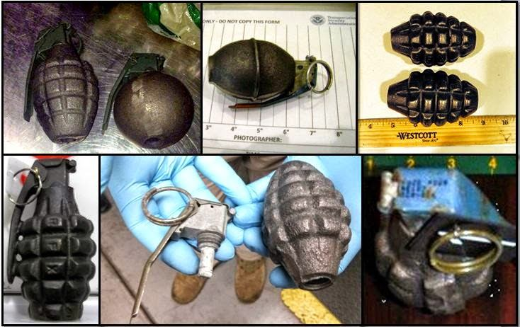 Clockwise From Top Left Corner, Grenades Discovered at: BWI, BWI, CAE, LAS, PHX, and MDT