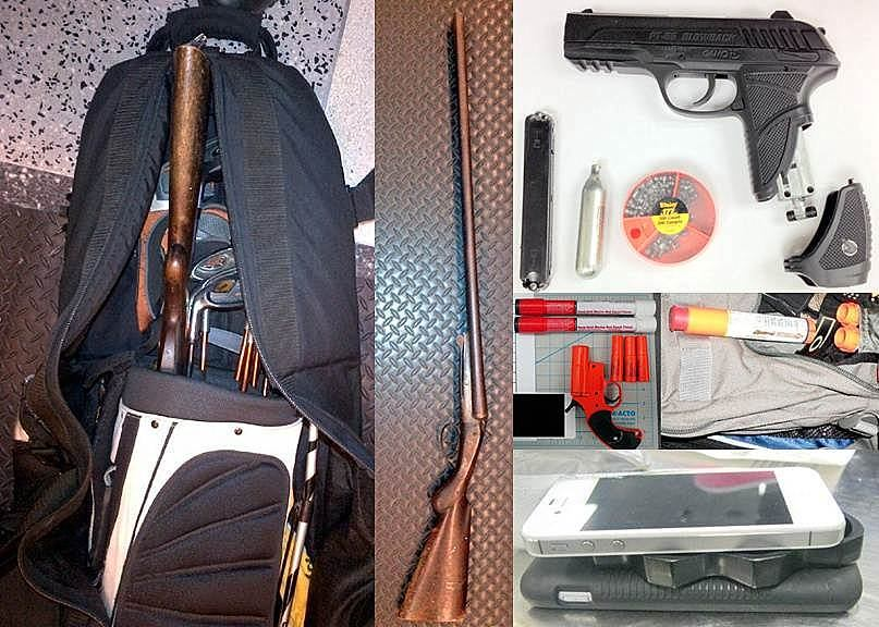 Shot Gun In Checked Golf Bag(DTW), Pellet Pistol (DCA), FlareGuns Discovered at (L-R) (PDX) and(LIH), Brass Knuckles Between CellPhones (MCO)