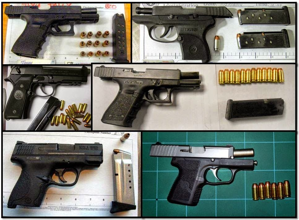 (L-R, T-B) Loaded Firearms Discovered in Carry-on Bags at: IAH, BIL, JAN, PHX, IAH & PHX