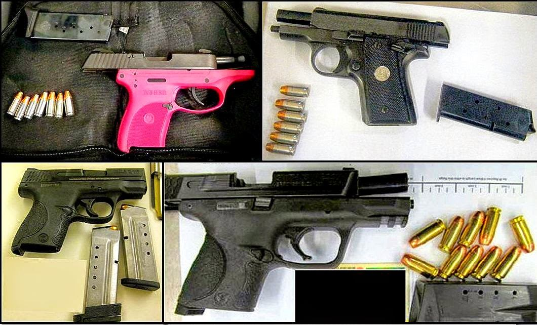 Clockwise from top left - Firearms discovered at MEM, DAL, MCO, and SNA.