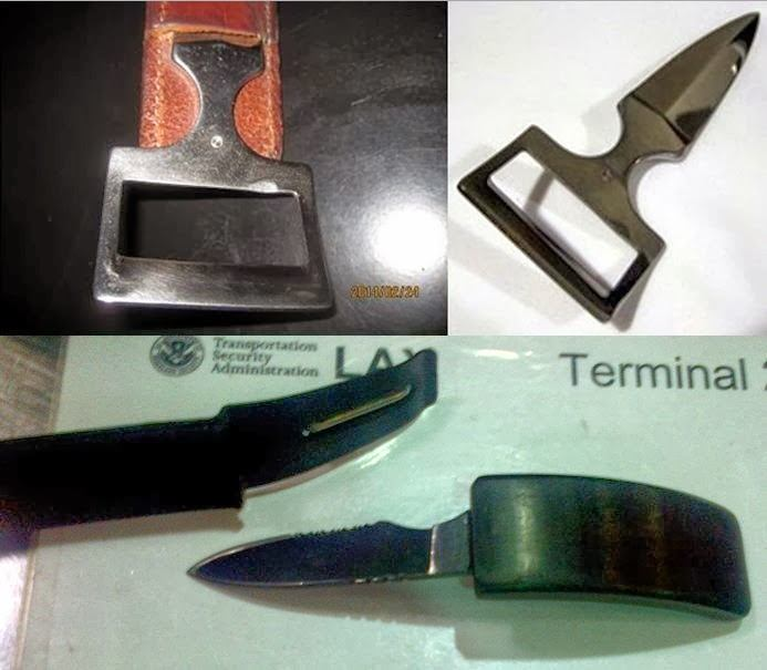 Belt Buckle Knives Discovered at (T-B) BOI and LAX