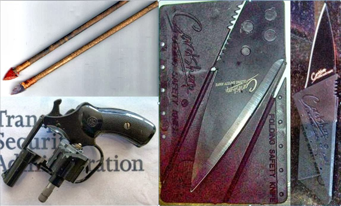 Arrows (PHX), Starter Pistol (ONT), Credit Card Knife (MCI)