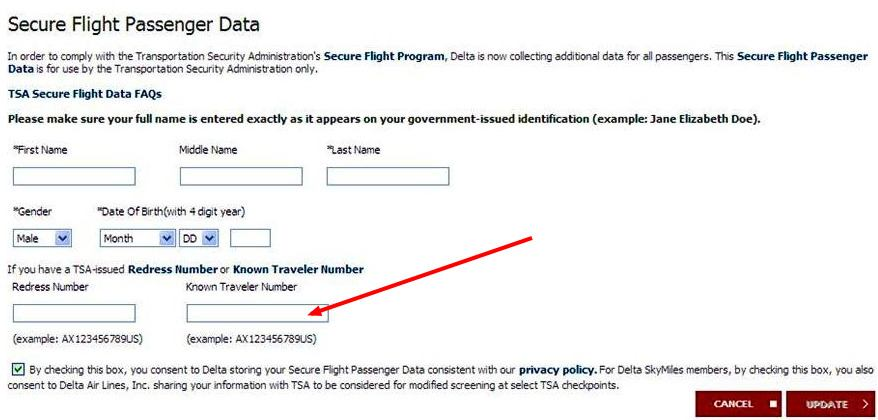 How To Add A Known Traveler Number A Flight