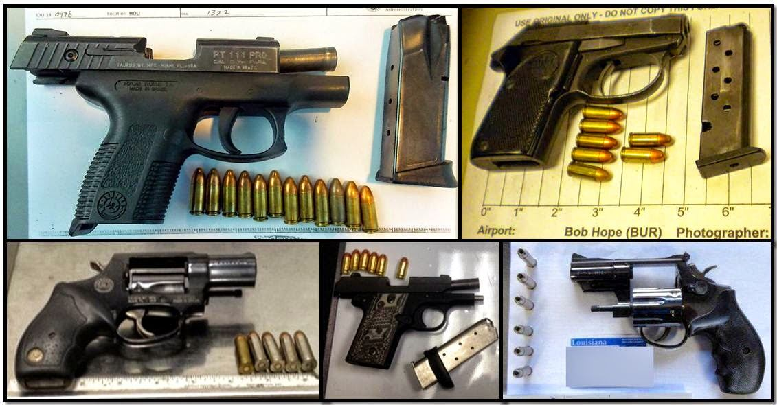 Firearms discovered at (Clockwise from top left) HOU, BUR, MSY, RDU, SEA