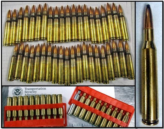 Ammunition discovered at (Clockwise from top left) MDW, IAH, OTZ