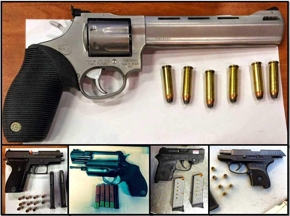 Counterclockwise from top, the firearms were discovered this week in carry-on bags at ATL, ATL, ATL, MIA, and BNA
