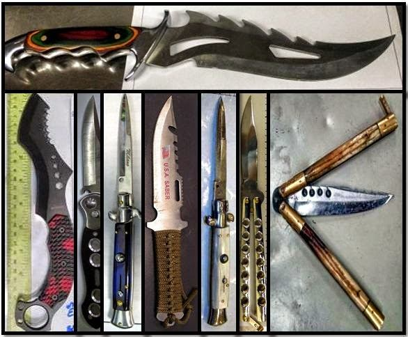 Counterclockwise from top, knives discovered at SFO, CLE, LGA, MLI, ORD, SLC, SNA and HNL.