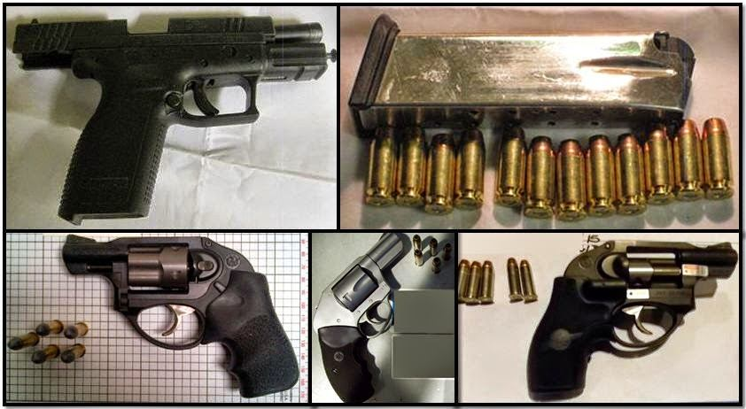 Clockwise from top left, firearms discovered at: BOI, HOU, MCI & GSP