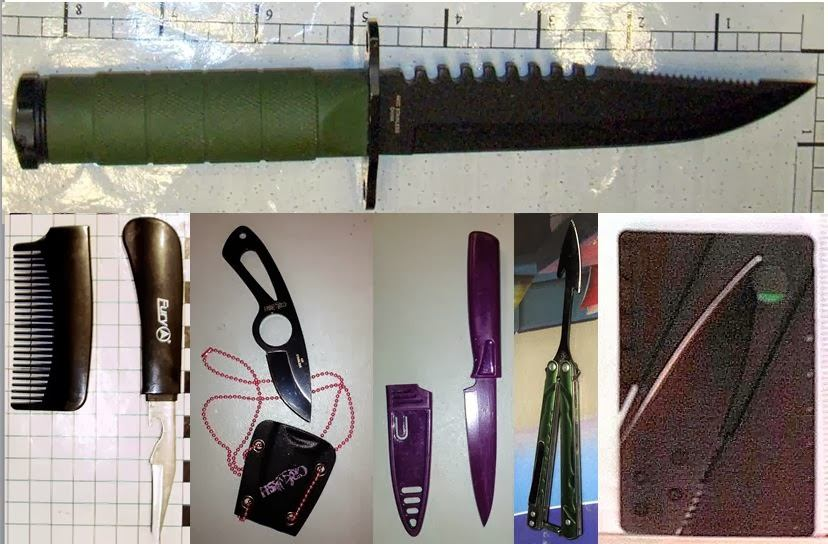 Knives Discovered at SLC, ACY, BWI, BWI, EWR, FLL