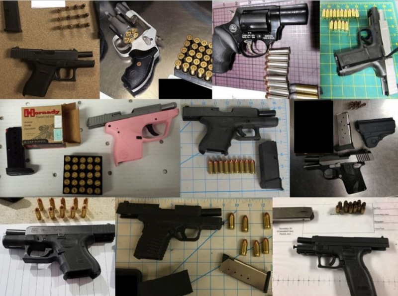 TSA discovered 69 firearms over the last week in carry-on bags around the nation. Of the 69 firearms discovered, 54 were loaded and 19 had a round chambered.