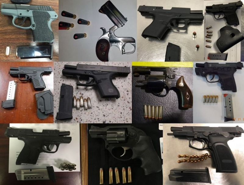 TSA discovered 79 firearms in carry-on bags around the nation last week. Of the 79 firearms discovered, 71 were loaded and 24 had a round chambered.