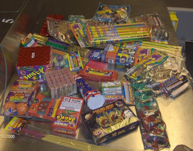 These fireworks were discovered in a checked bag at the Detroit Metropolitan Airport (DTW).