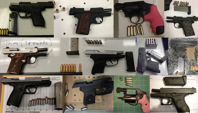 TSA discovered 57 firearms over the last week in carry-on bags around the nation. Of the 57 firearms discovered, 50 were loaded and 19 had a round chambered.