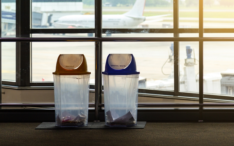 Recycle and trash bins at airport