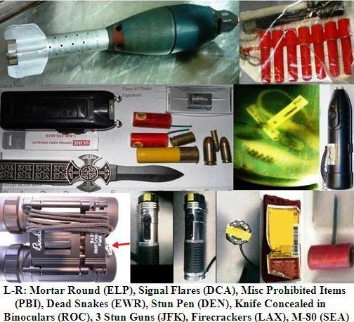 Inert mortar shell, stun guns, flares and flare gun, dead snakes, fireworks, ammunition.