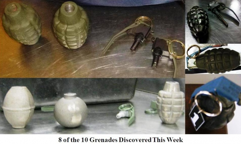 Eight grenades discovered this week at checkpoints.