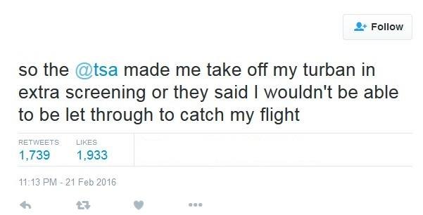 A screen capture of an @TSA message