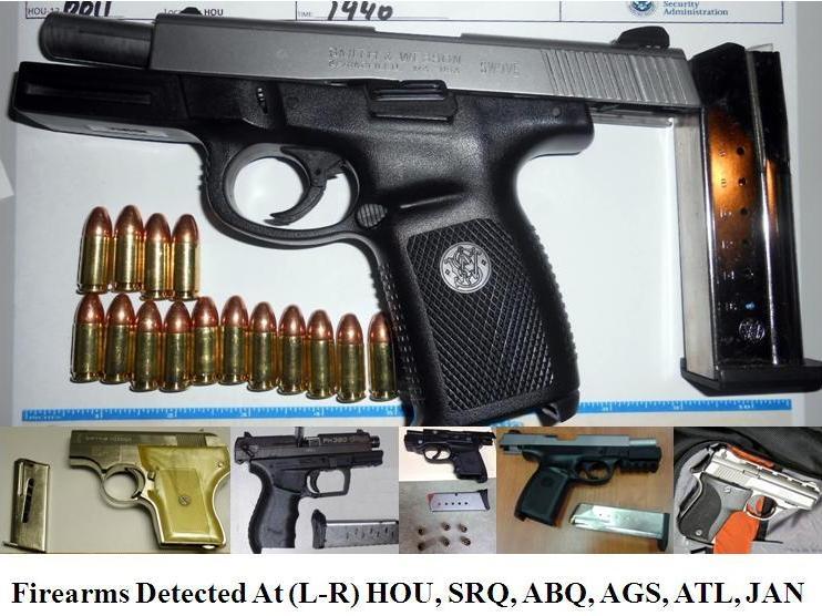 Loaded guns.