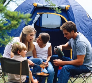 A family at a campground.