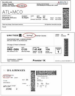 Examples Of Boarding Passes With The TSA Precheck Logo Circled