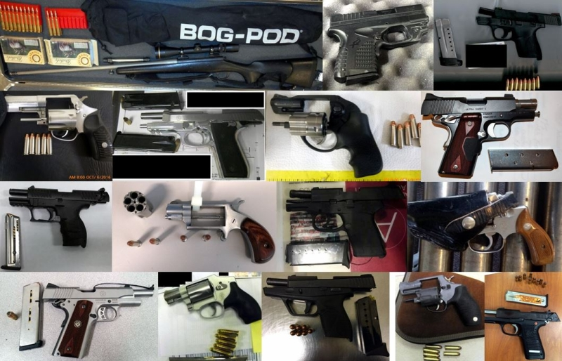 array of guns and other weapons that were confiscated this week
