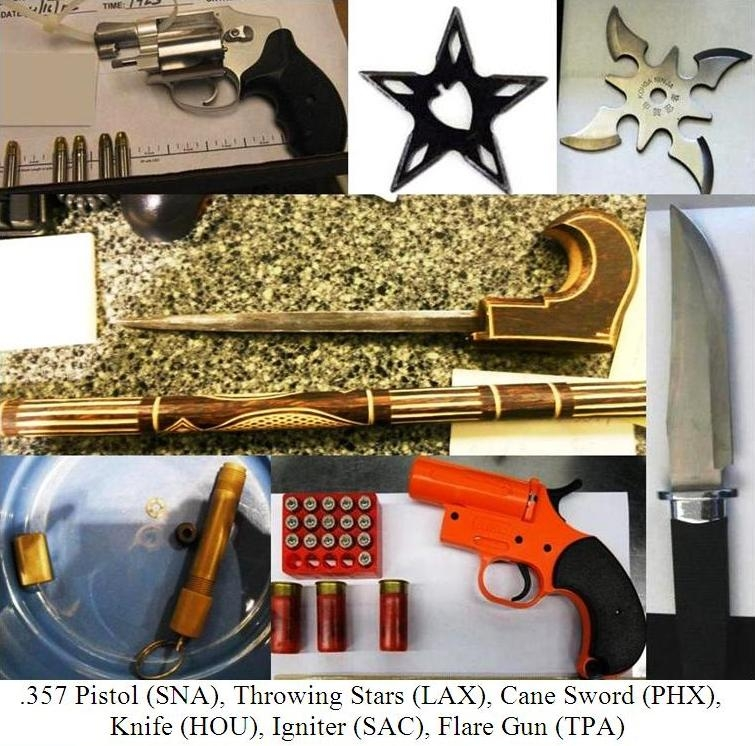 Loaded gun, flare gun with flares, throwing stars, sword cane, knife, igniter