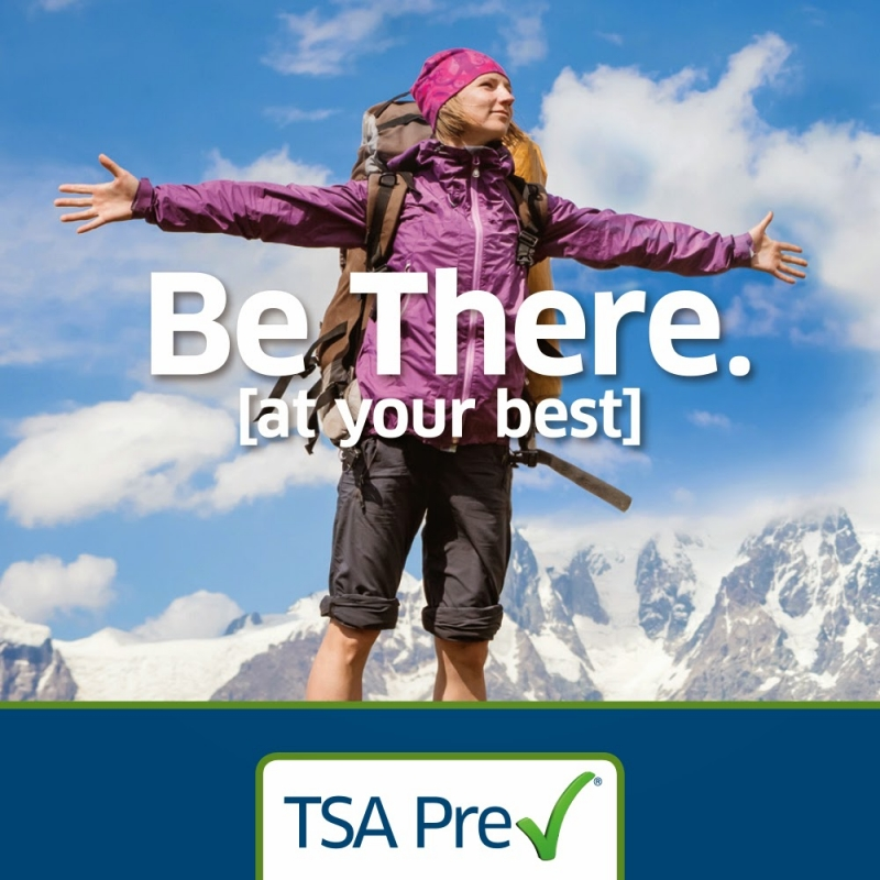 TSA Precheck. Be there at your best. (Female hiker in mountains)