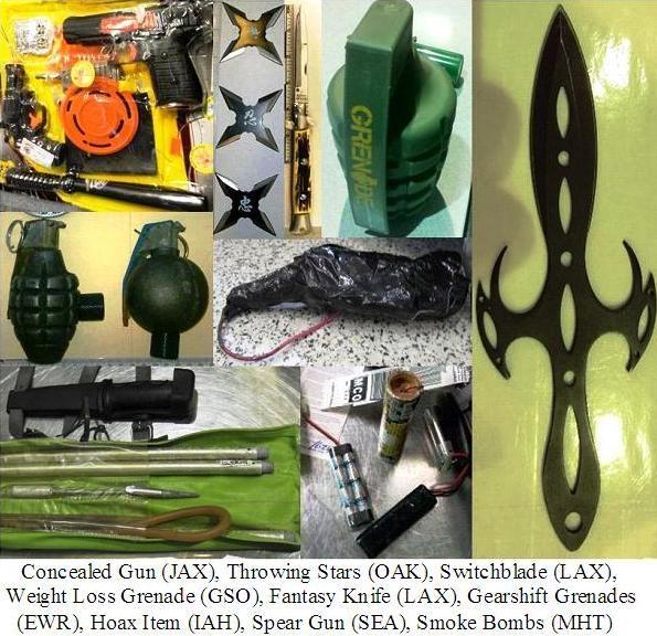 Firearm disguised as toy, throwing stars, inert grenades, knives, spear gun, smoke bombs, hoax itiem.