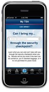 My TSA app screen shot on smartphone.