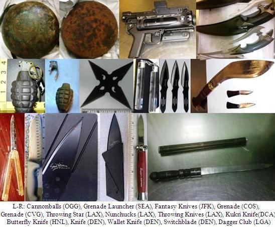 Cannonballs, grenade launcher, knives, throwing star, inert grenades.