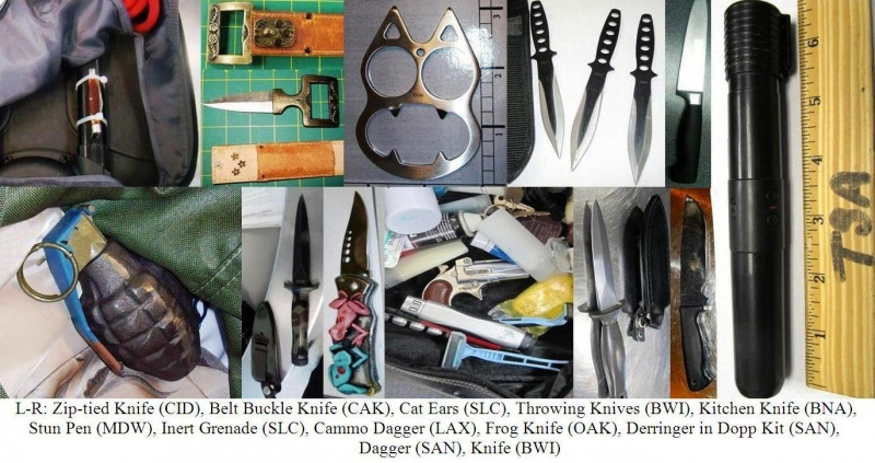 Knives, stun pen, loaded gun, inert grenade.