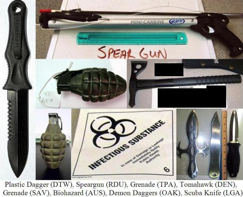 Plastic dagger, spear gun, inert grenades, axe, knives, infectious substance.
