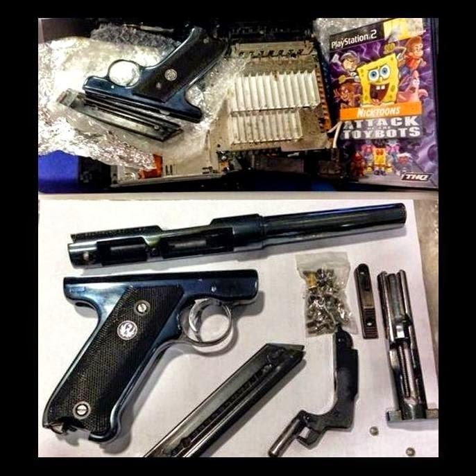 disassembled .22 caliber firearm