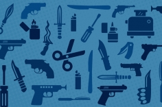 collage of prohibited items on blue background