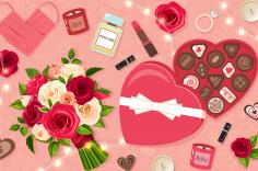 Illustrated flowers and heart box of chocolates on a pink background; candles and other romantic items scattered about