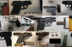 TSA discovered 58 firearms over the last week in carry-on bags around the nation. Of the 58 firearms discovered, 52 were loaded and 16 had a round chambered. Firearm possession laws vary by state and locality.