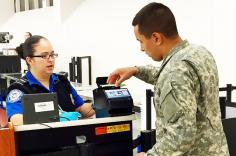 Military person uses TSA Precheck image