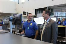 Transportation Security Officer Tony Sanchez with Acting Deputy Secretary Pekoske at the El Paso International Airport checkpoint.