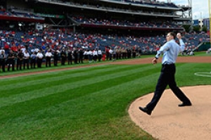 TSA Administrator Pistole pitching ceremonial pitch at Washington Nationals game